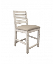 Stone Bar Stool with Fabric Seat
